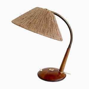 MId-Century Danish Modern Teak Sisal String Table Lamp from Temde, 1960s