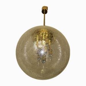 Large Frosted Glass and Brass Globe Pendant Lamp from Doria Leuchten, 1960s