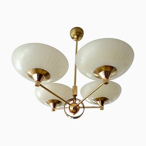 Vintage Italian Brass and Striped Opaline Glass Sputnik Pendant Lamp from Stilnovo, 1960s