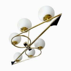 Large Mid-Century French Brass and Glass Pendant Lamp from Arlus, 1960s