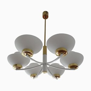 Mid-Century Opaline Glass and Brass Pendant Lamp from Hillebrand Lighting, 1960s