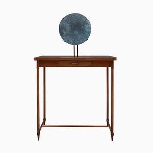 Italian Copper and Round Black Glass Mirror Dressing Table, 1940s