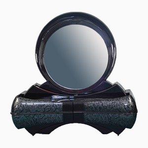 Vintage Spiegel Kommode aus Schwarzem Holz, 1980er