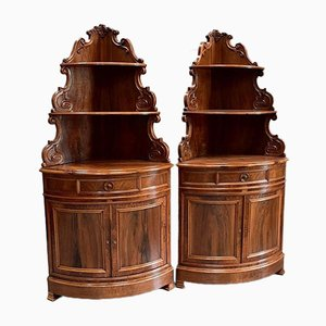 19th Century Walnut Corner Cabinets, Set of 2