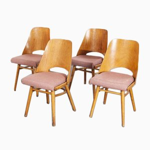 Upholstered Dining Chairs by Radomir Hoffman for Ton, Czech, 1950s, Set of 4