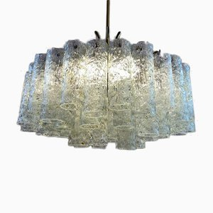 German Brass and Tubular Glass Chandelier from Doria Leuchten, 1970s