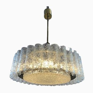 Tubular Glass and Brass Pendant Light from Doria Leuchten, 1960s