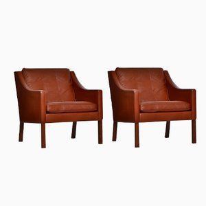 Cognac Leather Chairs by Børge Mogensen for Fredericia, 1964, Set of 2