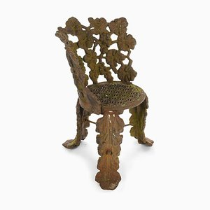 Cast Iron Chair with Floral Decoration, 1940s