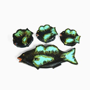 Fish-Shaped Plates from Vallauris, Set of 4