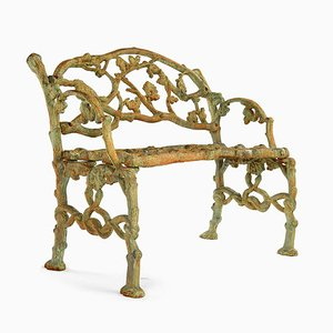 Green Patina Cast Iron Bench, 1940s
