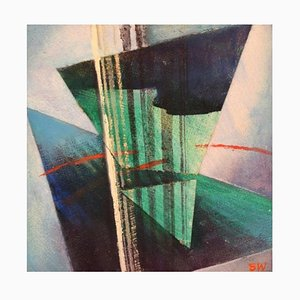 Swedish Oil on Board Abstract Concrete Composition von Stellan Widholm, 1960er