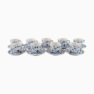 Royal Copenhagen Blue Fluted Plain Coffee Cups with Saucers, 1950s, Set of 18