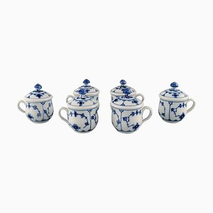Royal Copenhagen Blue Fluted Plain Lidded Bouillon Cups, 1960s, Set of 6