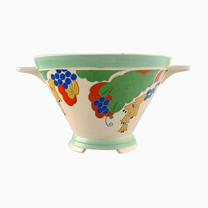 Large Art Deco Caprice Bowl in Hand-Painted Porcelain from Royal Doulton, England, 1940s