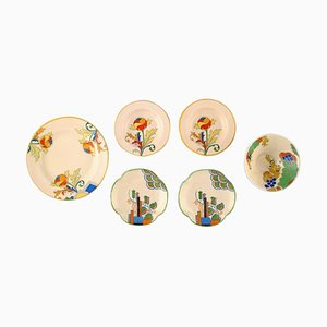 Art Deco Bowls, Dishes & Plates in Porcelain from Royal Doulton, England, 1940s, Set of 6