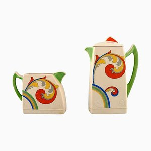 Art Deco Syren Coffee Pot with Jug in Hand-Porcelain from Royal Doulton, 1920s, Set of 2