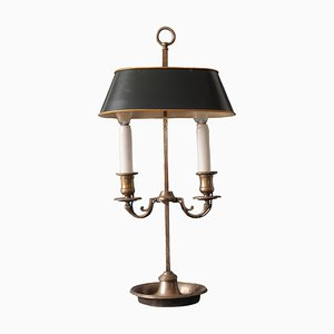 Antique French Silvered Bouillotte Table Lamp, 1900s