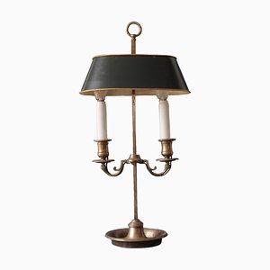 Lampe de Bureau Bouillotte Argenté Antique, France, 1900s