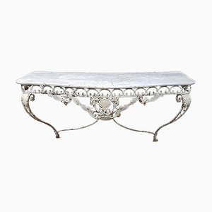 Antique French Patinated Wrought Iron & Marble Console Table