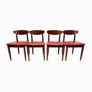 Vintage Red Leather and Rosewood Dining Chairs from Schreiber, Set of 4