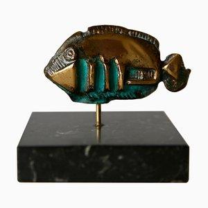 Kleine brutalistische Bronzedrigris Fischskulptur, 1970er