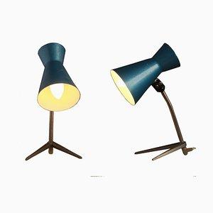 Blaue Ungarische Tischlampen von Szarvasi, 1960er, 2er Set