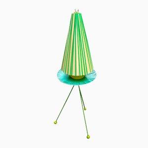 Lámpara trípode vintage verde