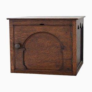 Antique Edwardian Oak Storage Box with Hinged Door