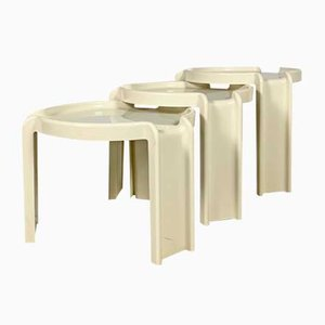 Tables Gigognes Blanches par Giotto Stoppino pour Kartell, 1970s