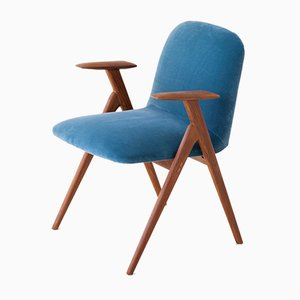 Blue Velvet and Teak Armchair, 1950s