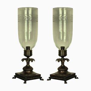 Bronze und Glas Tischlampen, 1930er, 2er Set