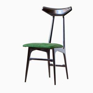 Italienische Esszimmerstühle aus Grünem Wildleder, 1950er, 6er Set