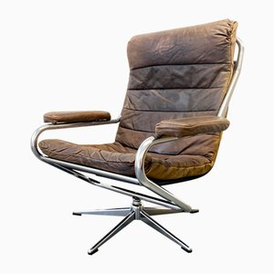Brown Leather & Aluminium Frame Rotating Swivel Chair, Germany, 1960s