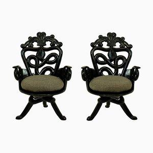 Französische Armlehnstühle aus Holz & Wolle, 1950er, 2er Set
