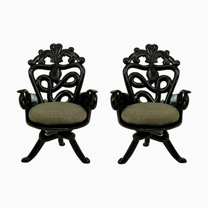 French Wood and Wool Armchairs, 1950s, Set of 2