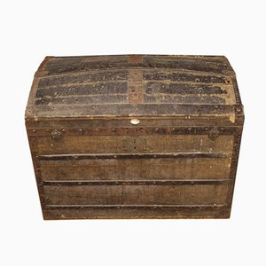 French Wooden Travel Trunk, 1950s