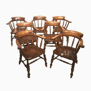 Antique Victorian Captains Armchairs, Set of 7