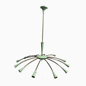 Messing & Aluminium Sputnik Deckenlampe, 1950er