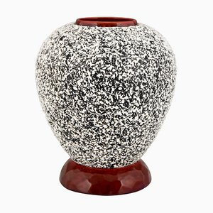 Art Deco Textured Glaze Ceramic Globular Vase by Paul Milet for Sèvres, 1930s