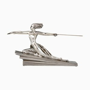 Art Deco Silvered Bronze Amazon Sculpture by Marcel Bouraine for Etling Paris, 1920s