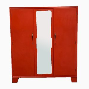 Art Deco Coral Red Cabinet, 1930s