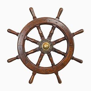 Antikes viktorianisches Schiffs-Rad aus Eiche und Messing, 1900er