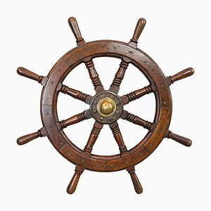 Antique Victorian English Oak and Brass Maritime Ship Wheel, 1900s