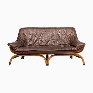 Mid-Century Brown Leather Saddle Stitched Sofa, 1960s
