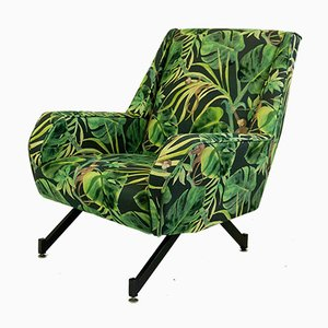 Mid-Century Italian Metal and Djungle Fabric Club Chair, 1960s