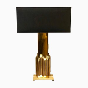 Italian Solid Brass Table Lamp by Luciano Frigerio, 1970s