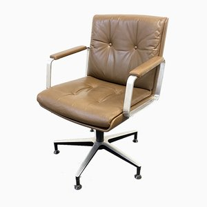 Brown Leather Conference Office Swivel Chair from Wilde+Spieth, Germany, 1960s