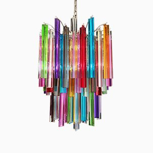 Multicolor Murano Glass Mariangela Chandelier with 107 Triedri, 1982