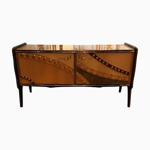 Vintage Italian Glass and Brass Sideboard, 1990s